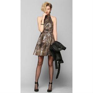 Size 0 Petite KNT metallic halter party dress
